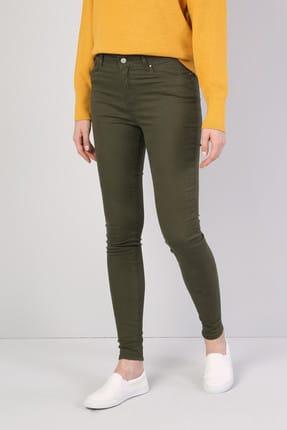 Colin's Super Slim Fit Yüksek Bel Skinny Leg Kadın Haki Pantolon 2