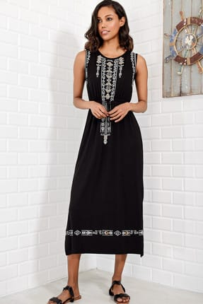 Trend Alaçatı Stili Kadın Siyah Nakış Baskılı Bohem Elbise ALC-6564 1