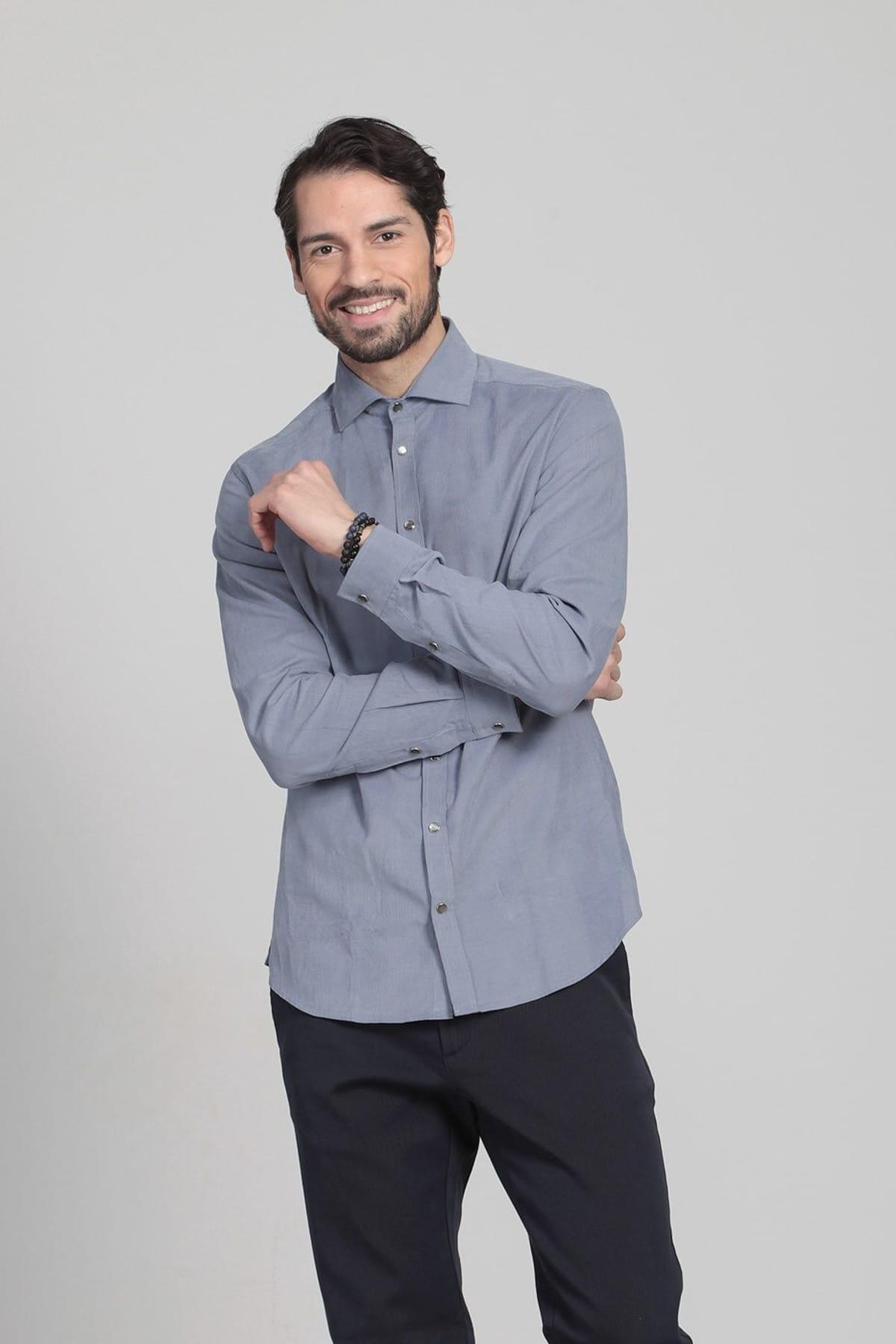 Ramsey Çizgili Dokuma Uzun Kollu Gömlek - RP10109381