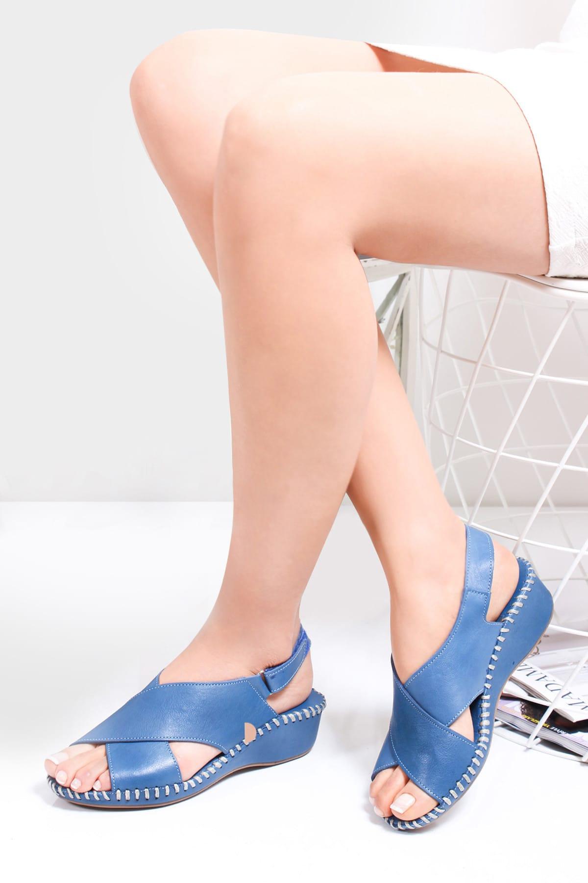 Hakiki Deri Kot Mavi Kadın Deri Sandalet Dp14-1203