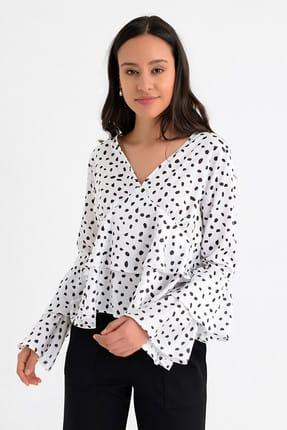 Hanna's Kadın Beyaz Puantiyeli Kat Kat Volanlı Uzun Kollu Bluz HN1676 2