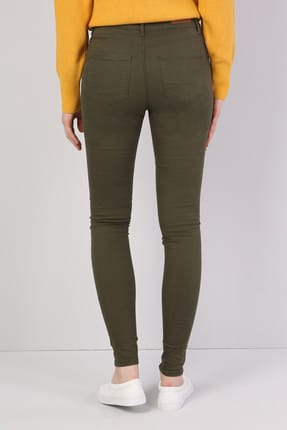 Colin's Super Slim Fit Yüksek Bel Skinny Leg Kadın Haki Pantolon 1