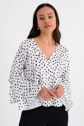 Hanna's Kadın Beyaz Puantiyeli Kat Kat Volanlı Uzun Kollu Bluz HN1676 0