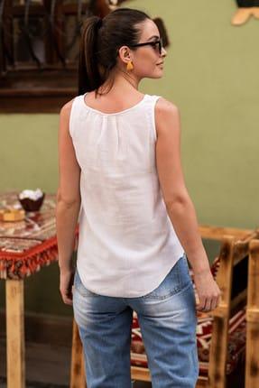 armonika Kadın Beyaz Yakası Açık Cepli Kolsuz Bluz ARM-18Y003014 2