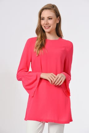Mizalle Kadın Fuşya Basic Kolları Volanlı Bluz 19YGMZL1012015 1