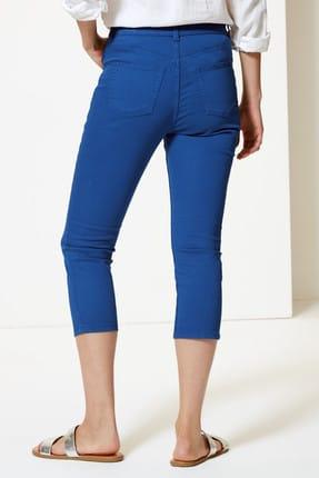 Marks & Spencer Kadın Lacivert Orta Belli Super Skinny Leg Kısa Jean Pantolon T57005110 1