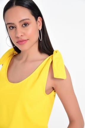 Hanna's Kadın Sarı Omuzdan Fiyonk Bağlamalı Basic Atlet HN1818 1
