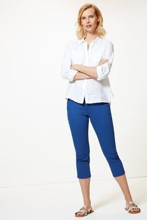 Marks & Spencer Kadın Lacivert Orta Belli Super Skinny Leg Kısa Jean Pantolon T57005110 0