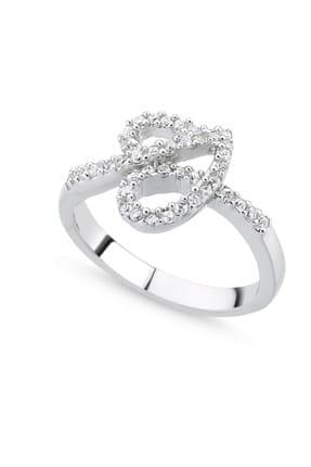 Tevuli Kadın Gümüş 925 Ayar Zirkon Taşlı Kalp Yüzük R85126 0