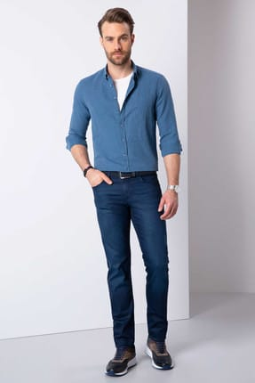 Pierre Cardin Erkek Mavi Slim Fit Uzun Kollu Gömlek 2