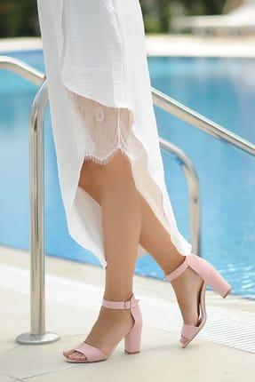 Pembe Potin Pudra Süet Kadın Klasik Topuklu Ayakkabı A200-19 0