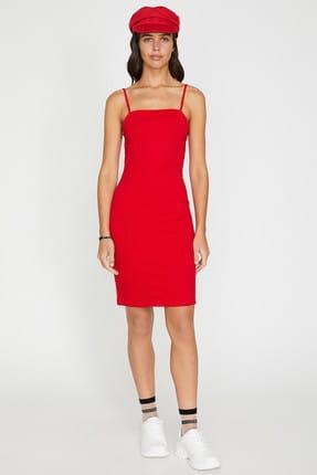 Koton Kadın Kırmızı Kolsuz Midi Askılı Elbise 9YAL88011OK 2