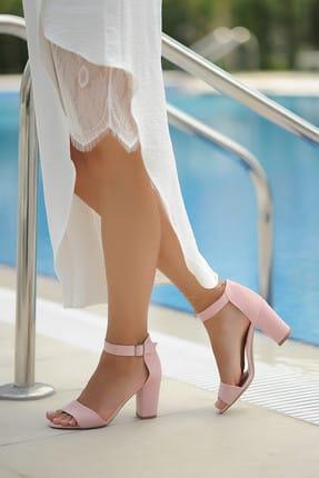 Pembe Potin Pudra Süet Kadın Klasik Topuklu Ayakkabı A200-19 3