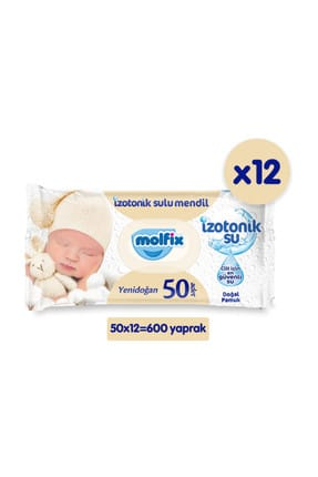 Molfix İzotonik Sulu Islak Mendil Yenidoğan 12'li Paket - 600 Yaprak 0