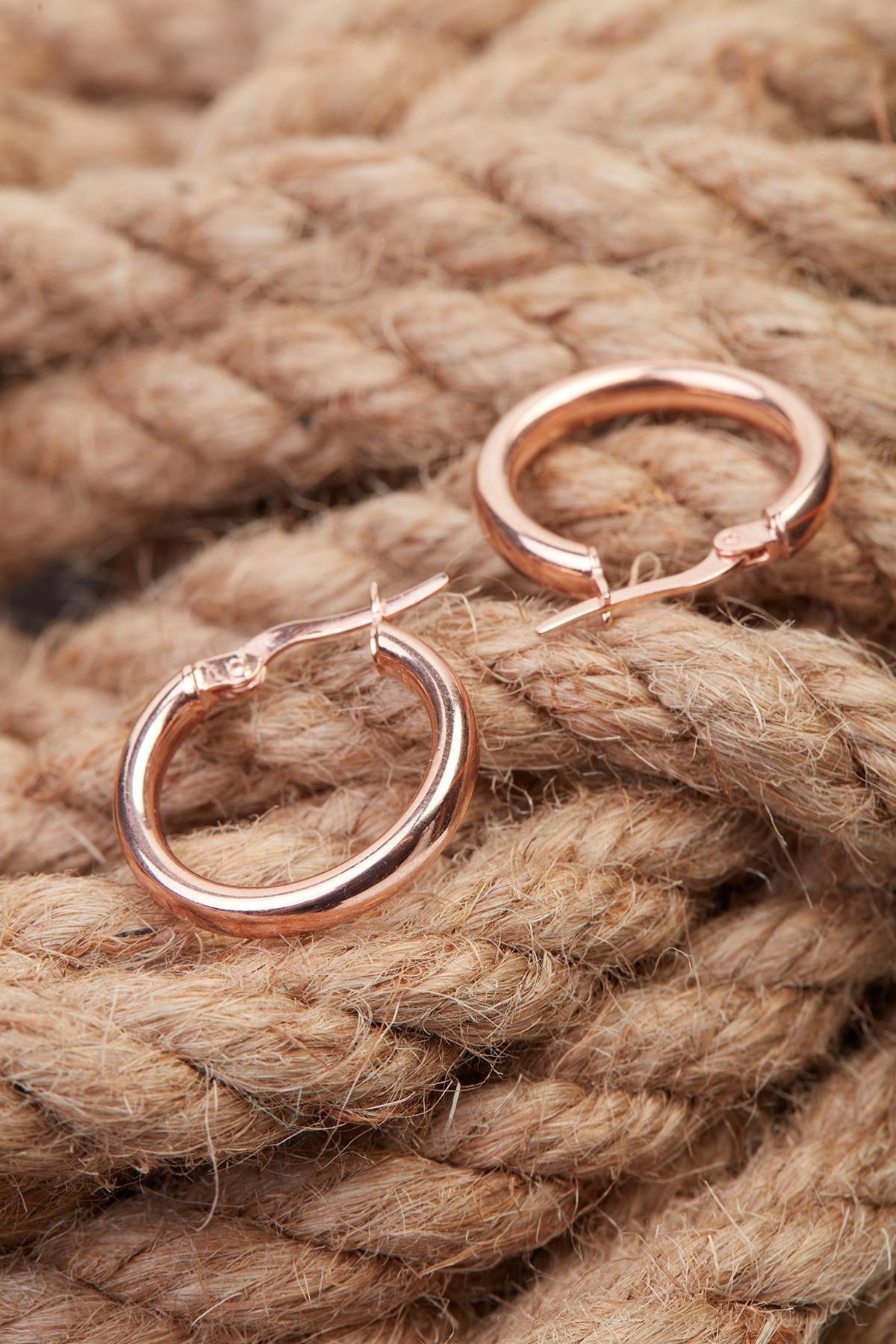 İzla Design Kadın Halka Model Rose Kaplama Gümüş Küpe İZLASLVR00106 4