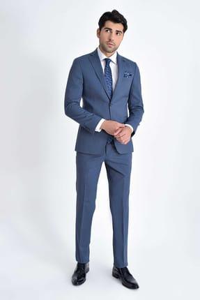 Desenli Slim Fit Mavi Takım Elbise 33201319C030 resmi