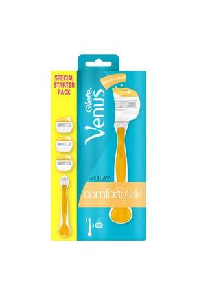 Gillette Venüs Venus Comfortglide Olay Krem Barlı Kadın Tıraş Makinesi + 3 Yedek Tıraş Bıçağı 1