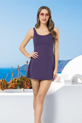 Kadın Mor Şortlu Elbise Mayo 37Y14B0006