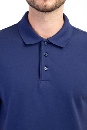 Kiğılı Erkek Lacivert-0 Polo Yaka Düz Slimfit T-Shirt - 74902 2