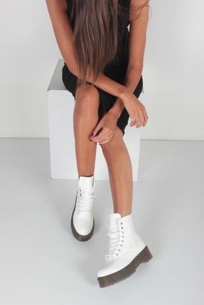 İnan Ayakkabı Beyaz Cilt Kadın Bot KY92515 1