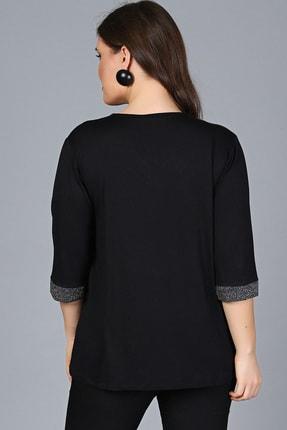Moda Cazibe Kadın Siyah Yaka Kolucu Sim Bluz M9288 2
