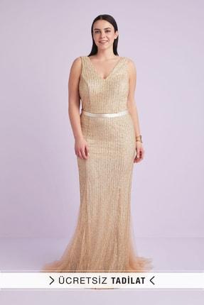 Kadın Altın Rengi Askılı Payet İşlemeli Uzun Abiye Elbise 4XLWBM1313V1 4XLWBM1313V1_CHARCOAL