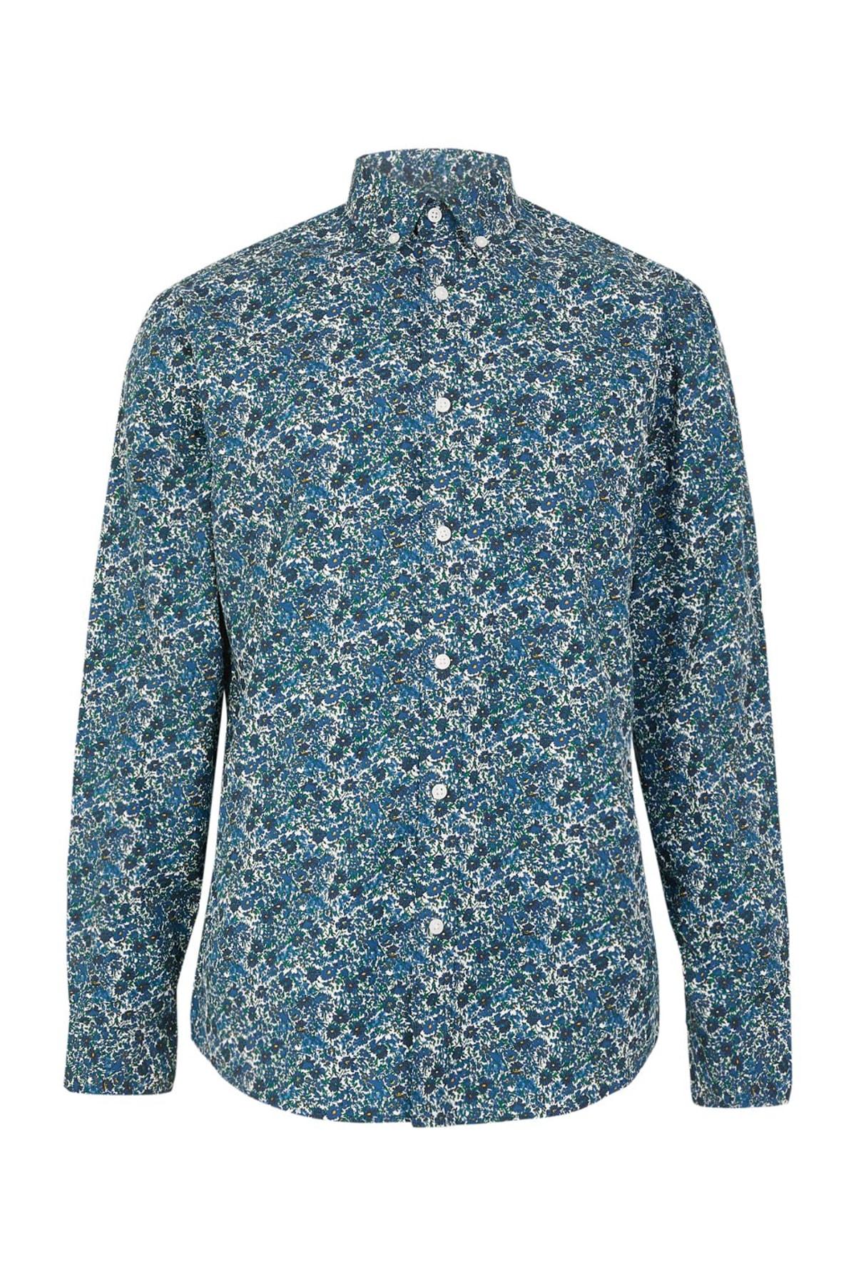 Erkek Blue Mix Pamuklu Çiçek Desenli Relaxed Gömlek T25002882M
