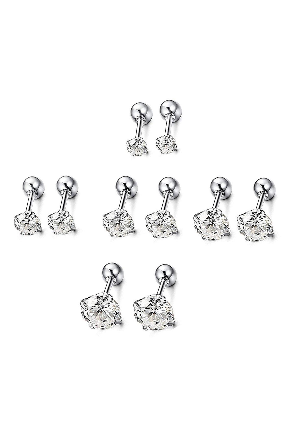 Beyaz 5 Takım Taşlı Kadın  Erkek Çelik Küpe Piercing ehy-eb60by