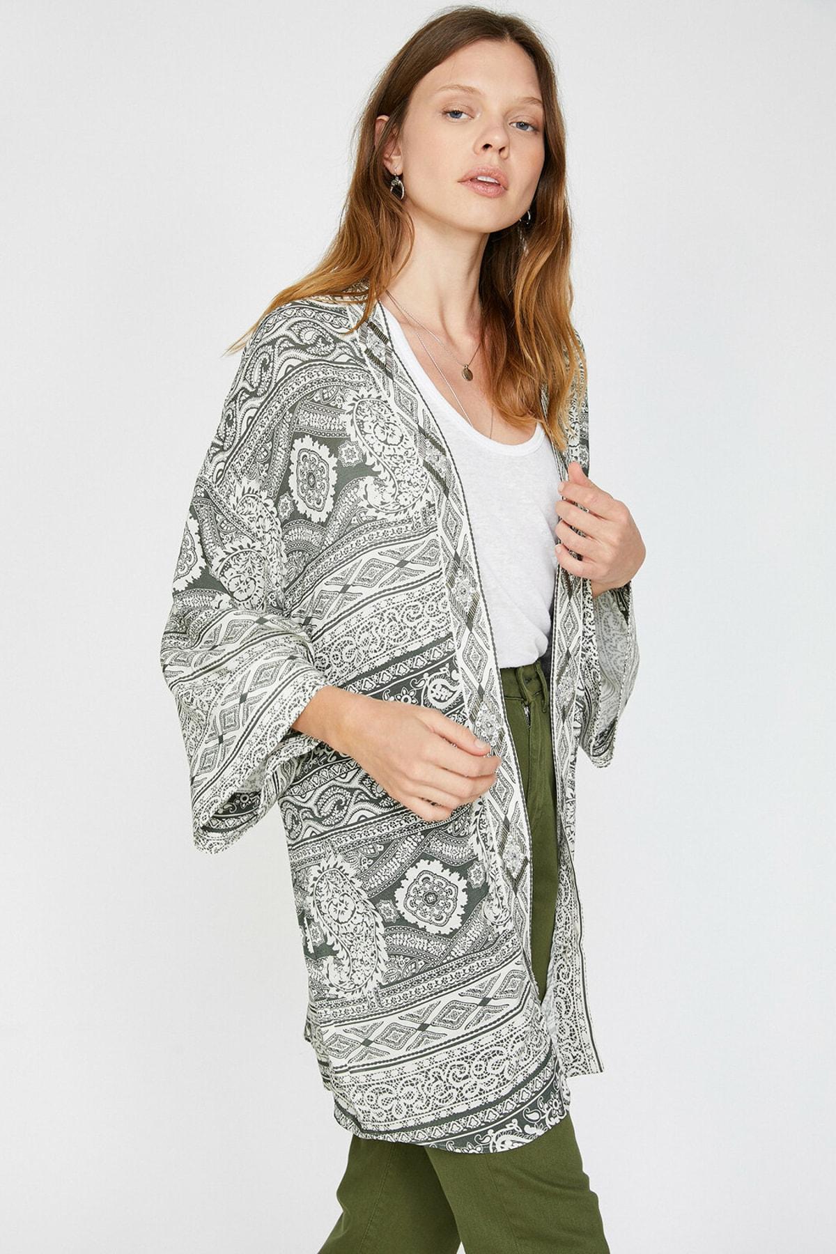 Koton Viskon Desenli Kimono