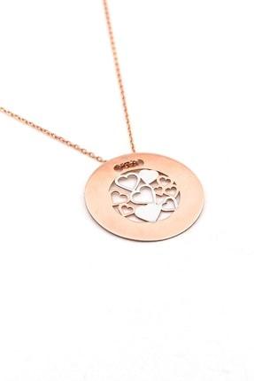 Solfera Kadın Minik Kalpler Roze 925 Ayar Gümüş Kolye Zincir Q0177 0