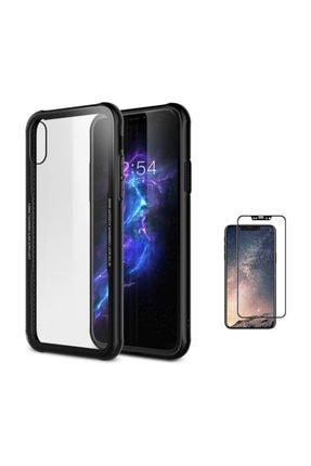 Teleplus Iphone X Kılıf Kenarı Renkli Arka 0.55mm Cam Silikon  + Tam Kapatan Cam 0