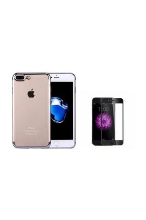 Teleplus Iphone 8 Plus Kenarı Renkli Desenli Silikon Kılıf + Tam Kapatan Cam 0
