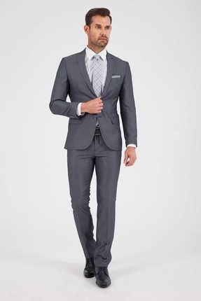 Desenli Slim Fit Gri Takım Elbise 33183019D002 resmi