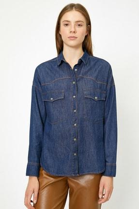 Koton Kadın Mavi Gömlek 0KAK67000MD 4