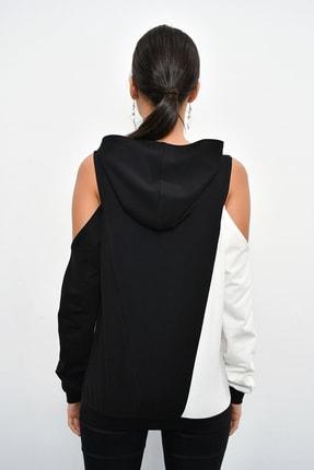 Cool & Sexy Kadın Siyah Renk Bloklu Omuzları Açık Sweatshirt B23 2
