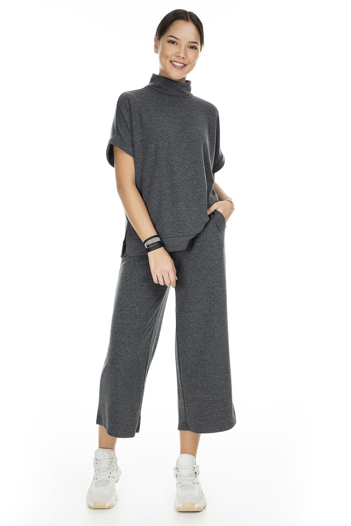Vero Moda Kadın Mat Füme Örme Pantolon 10222549 VMFALLULAH 10222549 0