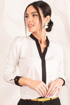 armonika Kadın Ekru Önü Şeritli Gömlek ARM-18K001255 0