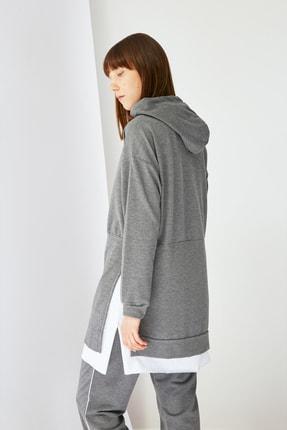 Trendyol Modest Antrasit Baskılı Kapüşonlu Örme Sweatshirt TCTSS21SW0400 2