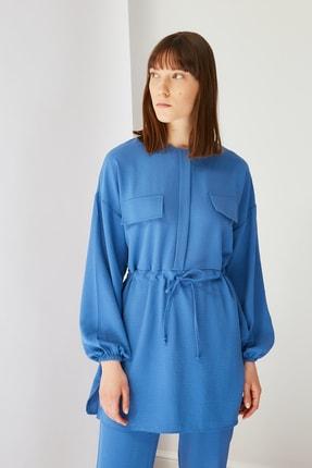 Trendyol Modest Mavi Cep Detaylı Tunik Pantolon Kuşak Detaylı Alt-Üst Takım TCTSS21AU0238 1