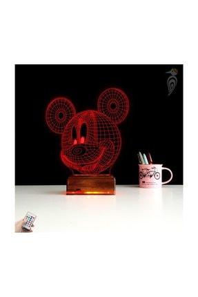 TahtaModa 3d Ilizyon Led Lamba Dekoratif Gece Lambası Çocuk Odası Mickey Fare Gece Lambası 4