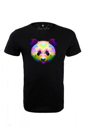 Angemiel Wear Renkli Panda Pamuklu Siyah Erkek Tişört A0592TE 1