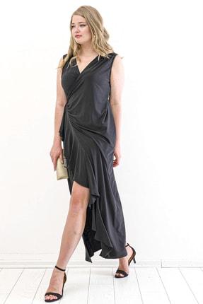 Angelino Kadın Sandy Yan Yırtmaç Abiye Elbise PNR88 Siyah T109998 3