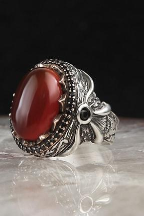 EstetikGumus Erkek Kırmızı Akik Taşlı Gümüş Erkek Yüzük PRA-700274-4241 0
