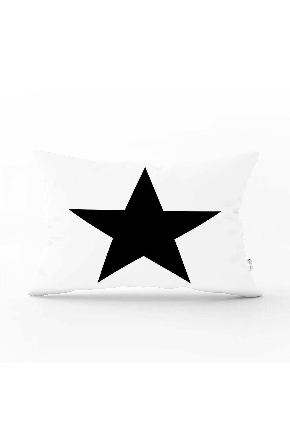 Realhomes Modern Yıldız Desenli Dijital Baskılı Dekoratif Dikdörtgen Yastık Kırlent Kılıfı 0