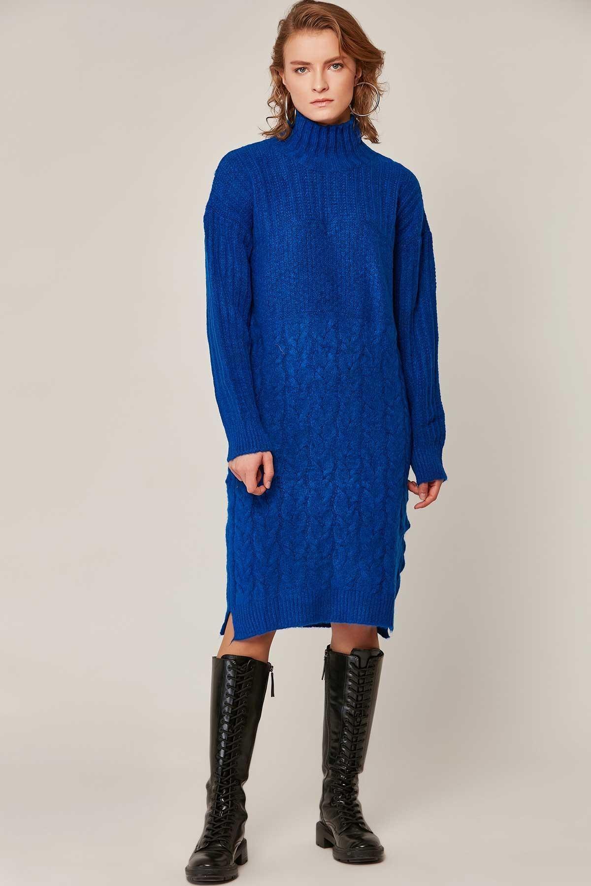 Pattaya Kadın Yırtmaçlı Boğazlı Salaş Triko Elbise 80195 1