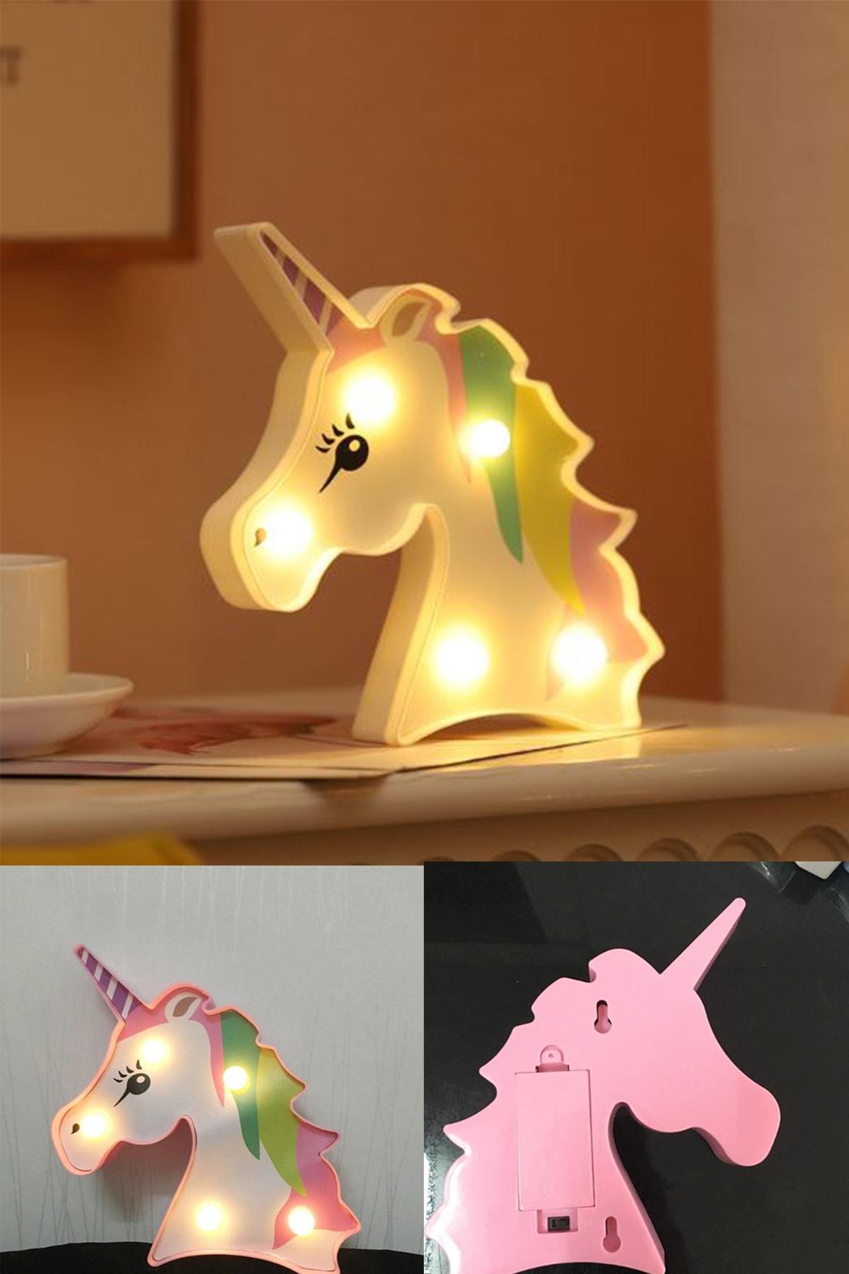 3D Unicorn Dekorlu Led Masa Ve Gece Lambası