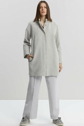 Picture of Kadın Açık Gri Melanj Dikiş Detaylı Palto 9KKPL5140X