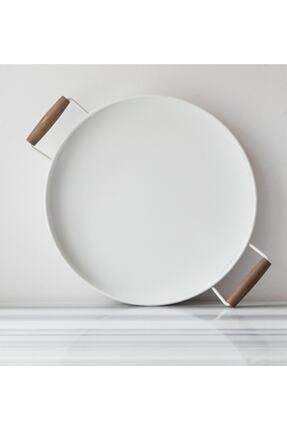 Bestofhome Ahşap Kulplu Beyaz Metal Yuvarlak Country Servis Emaye Tepsisi 36,5 cm mh000092 0