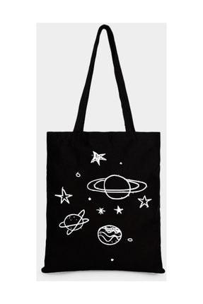 Çınar Bez Çanta Gezegen Ve Yıldızlar Baskılı Ham Bez Çanta 0