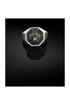 Bysilverstone Klasik Geometrik Gümüş Kurt Erkek Yüzük 0